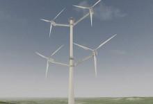 Vindkraftverk med fyra turbiner