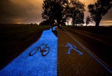 smart samhälle/ lysande cykel och gångvägar.