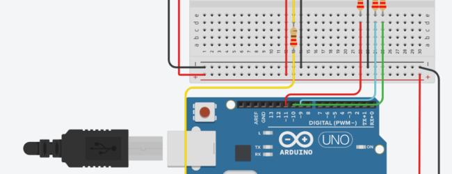 Circuit design med Arduino, temperaturmätare och RGB LED